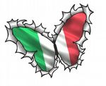 Ripped Torn Metal Butterfly Design With Italy Italian il Tricolore Flag Motif External Vinyl Car Sticker 125x90mm